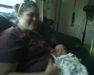Me and one of my favorite 'nephews,' Bjorn, when he was only 12 days old.