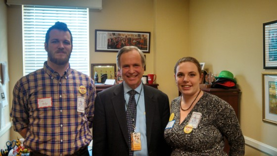 Erin and her husband, Tim, meet with Delegate Dana Stein- a supporter of midwives in Maryland.