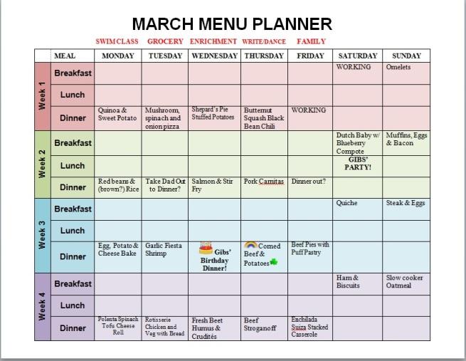 March Menu